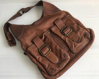 Banana Republic Bag - Purse - Heavy Brown Leather - Rugged - Vintage - Satchel - Handbag
