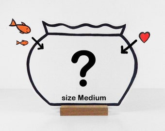 Your personalized wooden Fishbowl. Compose your own bowl with a maximum of 5 fishes or props. Size Medium.