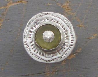 Round Signet Silver Ring-  Lemon Quartz Signet Ring - Statement Silver Ring