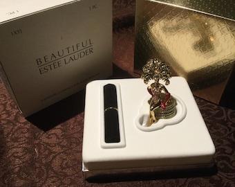 "Estee Lauder Solid Perfume Compact ""Las Vegas Showgirl"" Both Boxes!"