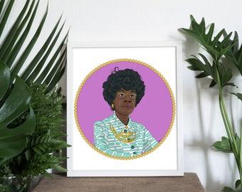 Shirley Chrisholm illustration, Shirley Chrisholm, Feminist art, Feminist portrait, Girl Power Art, Black Women art, Feminism,