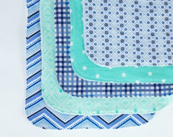 Blue and Turquoise Contoured Burp Cloths: Set of Five