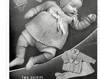 BAIRNSWEAR 1426 Vintage Pram Set Knitting Pattern Instant Download