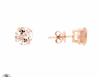 Round Morganite Stud Earrings, Round Earrings , Morganite Stud Earrings, Rose Gold Morganite Earrings, Blushing Rose Collection   EAR01734