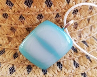 Blue and white fused glass pendant necklace.