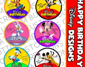 "Disney Inspired ""It's My Birthday"" Buttons (customizable)"