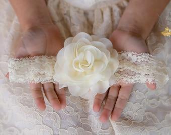Bandeau de dentelle crème Ivoire avec mousseline de soie Rose fleur - bébé nourrisson nouveau-né enfant filles adultes mariage rustique