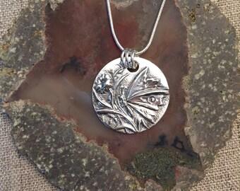 Butterfly Garden Fine Silver Pendant