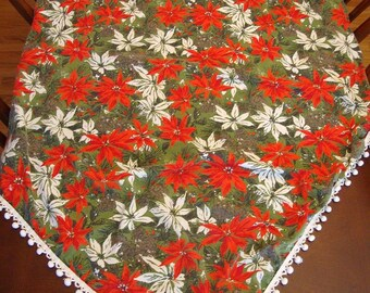 Vintage Christmas Tablecloth Pinecones and Flowers w/ White Pom Pom Trim 52 x 60