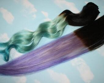 Ombre Dip Dyed Hair, You pick the colors, Custom Hair Extensions, Human Hair, Clip In Hair, Rainbow, Pastel Hair, Ombre Hair, Full Set Head