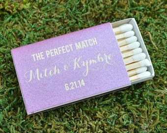 """50 """"The Perfect Match"""" Custom Matches, Personalized Wedding Matchboxes, Printed Bar Matches, Custom Wedding Favors,"""