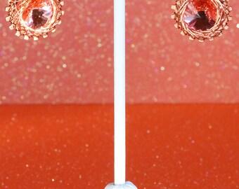 Spirograph Inspired Design, Wire Wrapped Swarovski Crystal Rivoli Earrings, Light Peach Shimmer