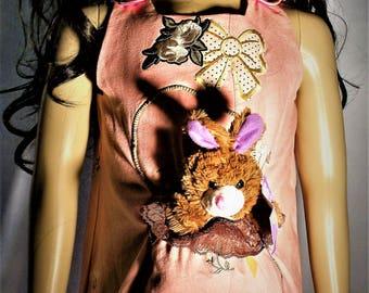 Girls pink bunny dress