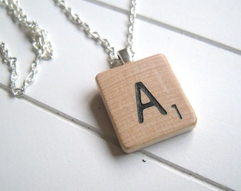 Vintage Scrabble Wood Tile Necklace, Choose Letter, Initial, Quirky, Cute, Retro, Personalised