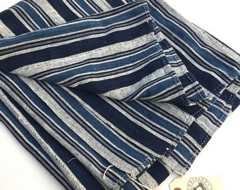Mud Cloth, Stripes, Large Piece, Authentic Vintage African Indigo fabric, Home Decor, Upholstery Fabric