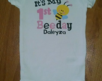 Its My 1st Beeday Bodysuit or T-Shirt - 1st Birthday Girl - Personalized