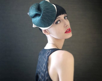 Sculptural Teal and Cream Felt Hat with Warm Black Feathers - Bantam Hat - Made To Order