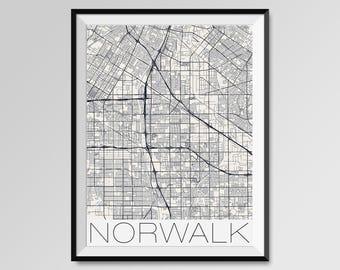 NORWALK California Map, Norwalk City Map Print, Norwalk Map Poster, Norwalk Wall Map Art, Norwalk gift, Custom city maps, California map