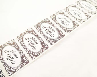 """ET02 - Set of 5 labels self sticky """"Pleased to offer"""" gray and white patterns romantic flowers"""
