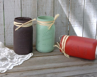 Painted Mason Jars, Shabby Chic, Chocolate, Sage, Persimmon, Hand Painted, Distressed, Rustic, Fall, Autumn