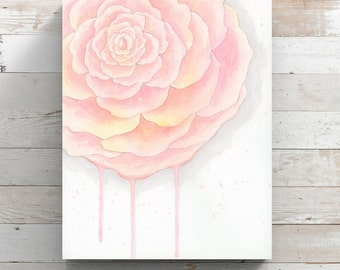 Drippy Flower Canvas Print from original watercolor painting - Pink Watercolor Flower - Wrapped Canvas Print