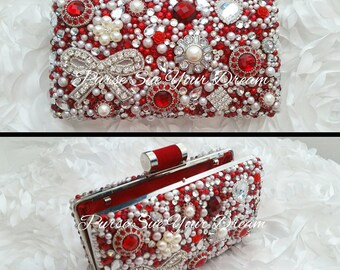 Vintage Ruby Red Custom Bridal Pearl and Swarovski Crystal Clutch Handbag - Pearl Handbag - Crystal and Pearl Purse - Swarovski Bridal Purse