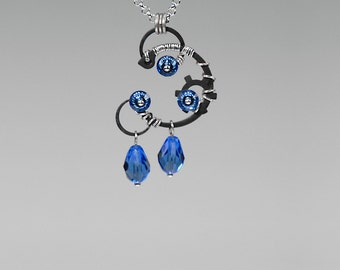 Blue Swarovski Crystal Industrial Pendant, Industrial Jewelry, Swarovski Necklace, Sapphire swarovski Crystal, Statement Pendant, Skathi v5
