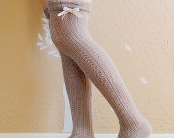 Cute Vintage style gray socks, long socks with lace,Gray and Khaki boots socks. lacy socks,women sccks,girls socks,Birthday gift for her