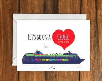 Let's go on a Cruise This Valentine blank greeting card (A6) Holiday Gift Idea