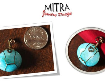 Blue stone wire wrapped pendant, Mitra