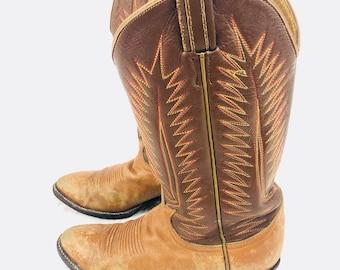 80's El Paso Tony Lama Caramel leather western boots 8
