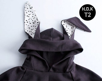 T2 /kids sewing pattern pdf/ kids Hooded Tshirts with rabbit ears/ kids costume/children clothing/size/2T-6