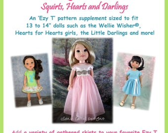"Flirting with Skirts Ezy T supplement  for 13 to 14 1/2""  dolls such as the Wellie Wisher, Hearts for Hearts doll and the Little Darlings"