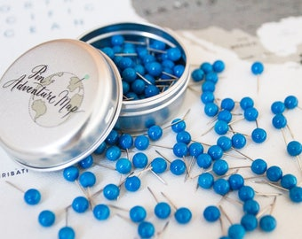 Push Pins for Travel Maps, Blue Pins / Map Pins for Pin Boards, Plastic / Metal pins