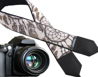Camera strap - dreamcatchers. Brown beige camera strap. DSLR / SLR accessories. Durable, light and padded camera strap by InTePro, 400