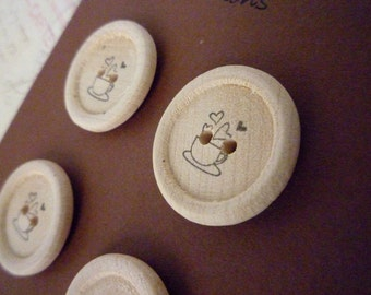Wood Buttons - Stamped Tea Cup Collection - Handmade - 7/8 Inch