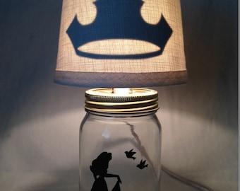 Mason jar small lamp, nightlight - Sleeping Beauty, Aurora influenced