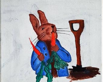 Bunny rabbit, Hare, artwork, painting,