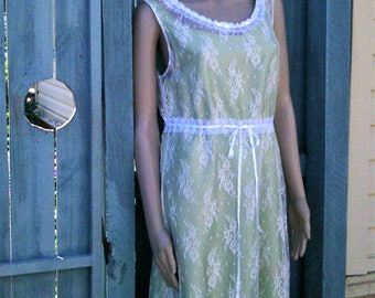 Handmade white lace dress with lime green slip