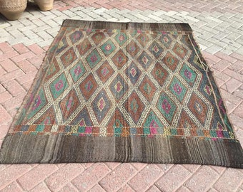 "Muted Kilim rug, 72"" x 57"" Rustic rug, Muted color Kilim rug, Vintage Turkish kilim rug, kilim rug, kelim rug, vintage rug, faded rugs, 752"