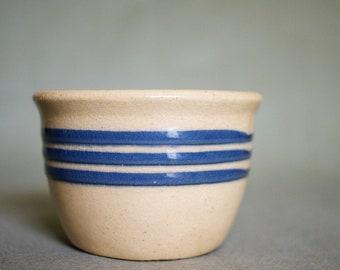Vintage Small Yellowware Bowl Blue Stripe Yellow Ware Salt Cellar Farmhouse Kitchen