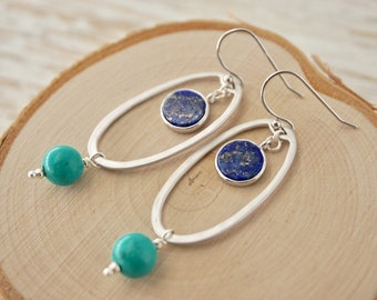 Lapis Lazuli and Blue Turquoise Gemstone Drop earrings - with tarnish resistant silver