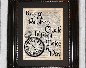Broken Clock is Right Twice a Day, Dictionary Art Print, Upcycled Book Art, Silhouette, dictionary page Wall Decor, Wall Hanging
