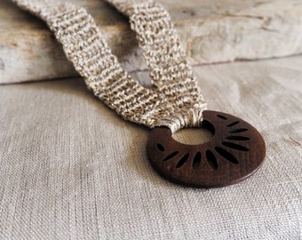 Ethnic Boho necklace of natural linen and wood, wood pendant, textile necklace, textile jewel, handmade