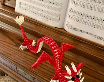 3D Origami red dragon
