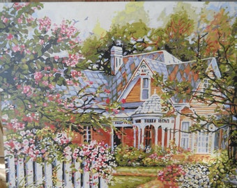 Hand Painted Paint by Number Floral Cottage Farmhouse Kitch.