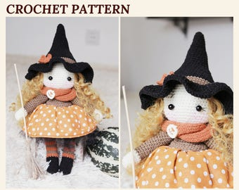 Crochet Witch Pattern Amigurumi Witch Doll Halloween Witch Pattern Crochet Doll Witch Hat