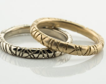 Gold stack rings, multiple stack rings, stacking gold bands, 14k gold band, engraved stack ring, custom handmade wedding rings, gold stacks