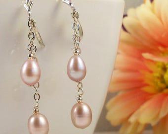 Pink Pearl Teardrops on Sterling Silver Chain Earrings, Real Freshwater Pearl Jewelry, Long Bridal Earrings
