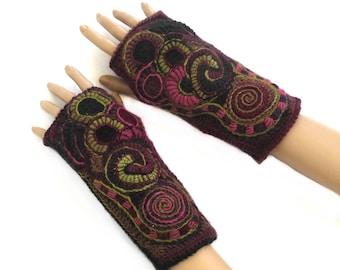 Crochet Mittens Gloves, Fingerless Gloves Mittens Freeform Crochet Women's OOAK Wearable Art in rainbow colors